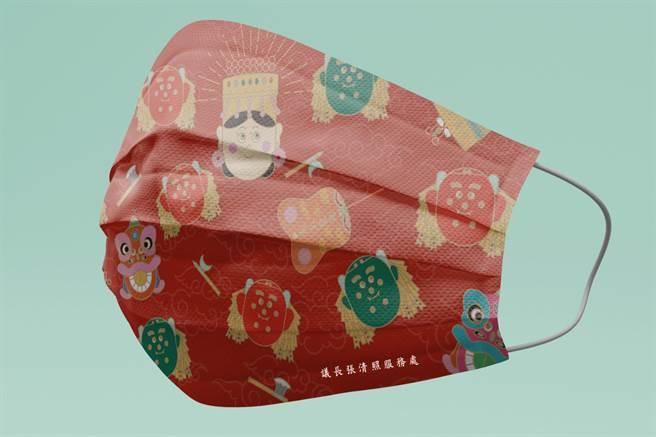 議長張清照服務處配合防疫提供精美口罩,上面有Q版媽祖圖案,可愛又實用。(議長張清照服務處提供)
