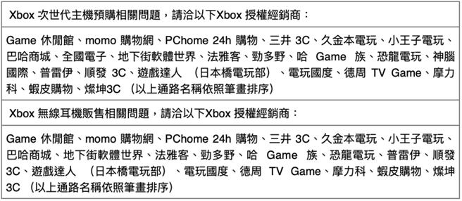 Xbox 次世代主機預購、Xbox 無線耳機販售相關問題可洽經銷商。(台灣微軟提供/黃慧雯台北傳真)