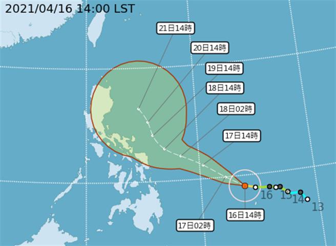 中央氣象局表示,中颱舒力基持續緩慢朝西北西前進,預估到達菲律賓東方海面後將逐漸北轉,隨後朝東北方向前進。(氣象局提供)