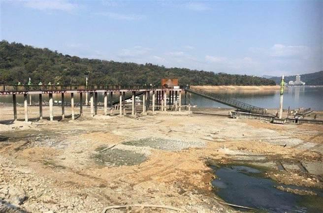 日月潭蓄水量僅剩33.9%,水位更是創下新低。(圖/日月潭風管處提供)