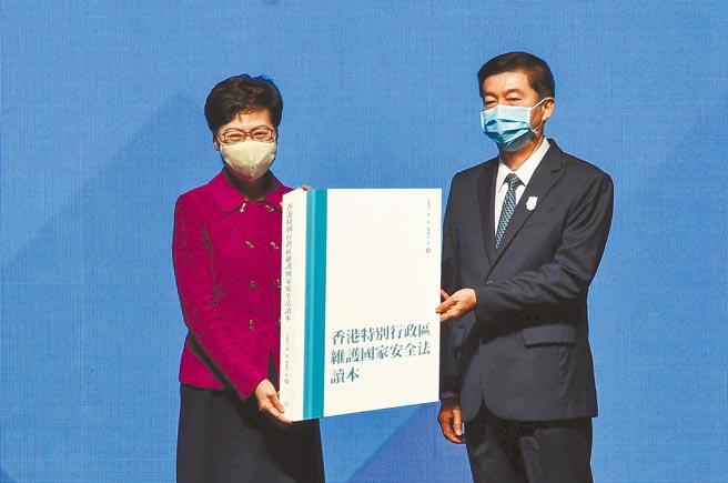 從北京當局觀點來看,意圖挑戰中共一黨專政、阻礙大陸成為強國的境外勢力,是大陸國家安全的最大威脅。圖為香港特區政府「全民國家安全教育日」的開幕儀式。(中新社)