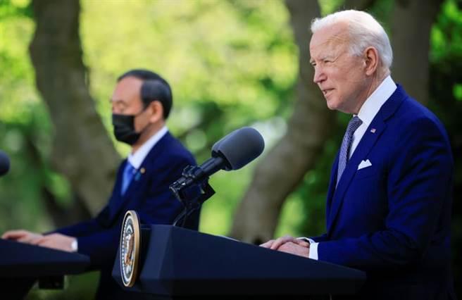 美國總統拜登今天與日本首相菅義偉舉行雙邊領袖峰會。(路透社)