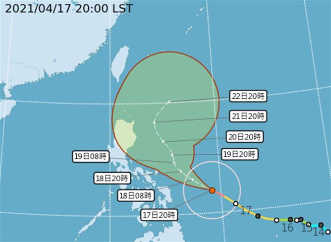 中央氣象局表示,舒立基未來強度仍有機會提升,不過颱風也即將沿著路徑向東北迴轉,對台影響不大。(氣象局提供)
