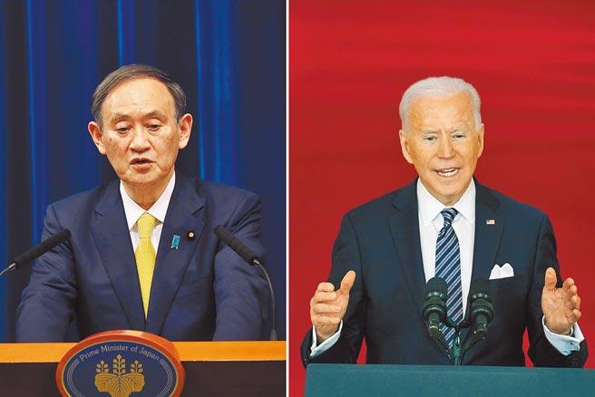 日本首相菅义伟(左)、美国总统拜登(右)。(美联社)