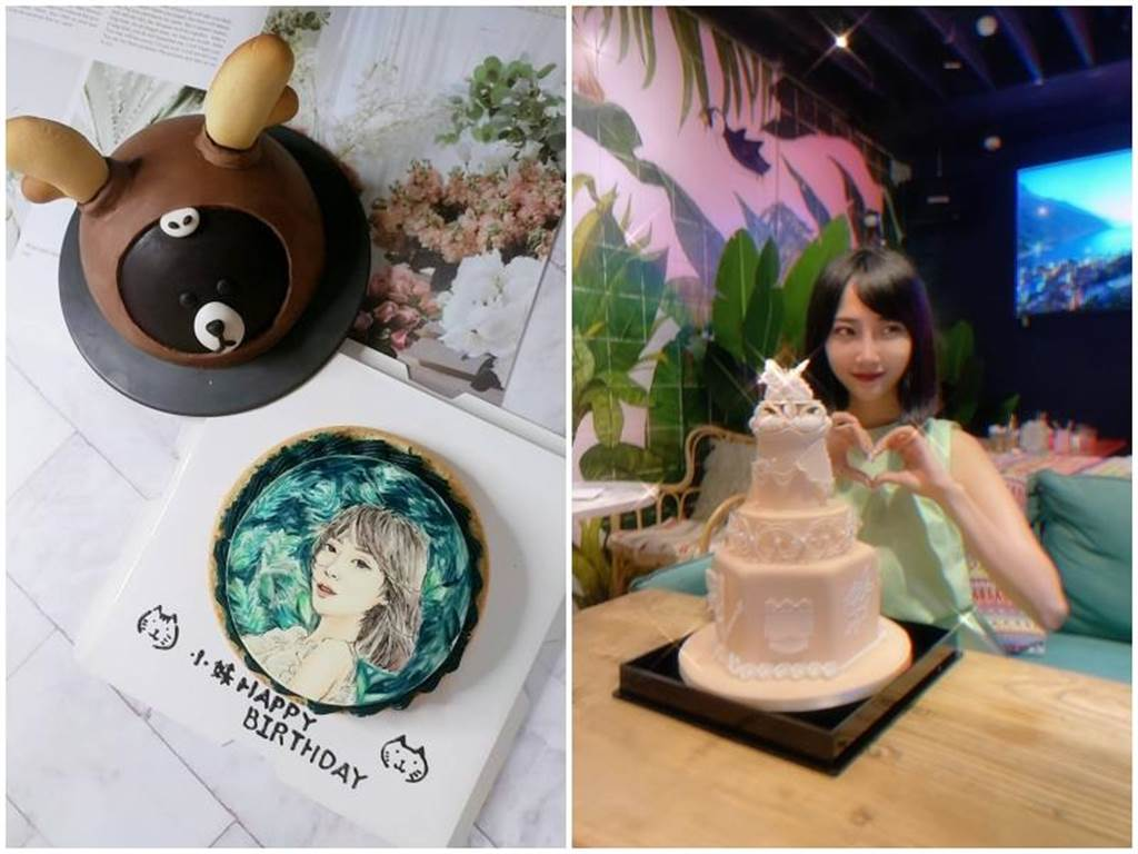 孟翔訂做蛋糕送給黎晏孜做為生日禮物(左圖),做糖霜餅乾和蛋糕是黎晏孜療癒自我的方式(右圖)。(經紀公司提供)