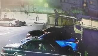醉漢爬車頂連跳4車致車身凹陷 警方鎖定嫌疑人