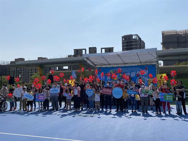社團法人台灣省關懷血友病友協會在台中舉辦「英雄主場、讓愛轉動」世界血友病日活動,以運動家精神傳遞愛與關懷的正能量。(馮惠宜攝)