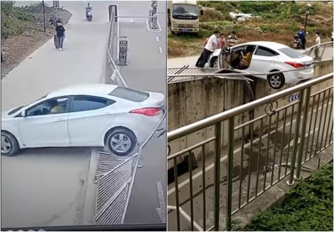 大陸一名婦人往後暴衝後,車尾懸吊在半空中。(圖/YOUTUBE)