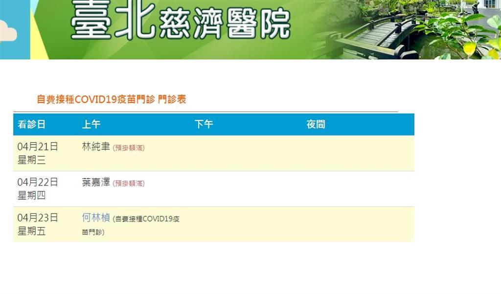台北慈濟醫院21、22日也已預約掛號額滿。(圖/翻攝自台北慈濟醫院網站)