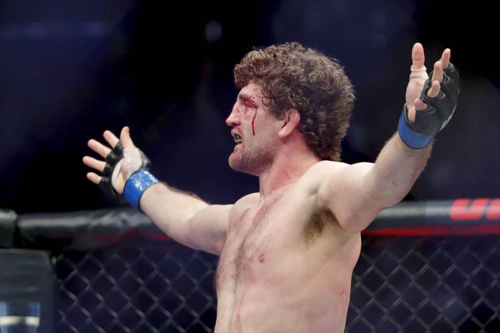 前UFC拳手阿斯克蘭最近遭到網紅拳手擊倒,引來同行嘲笑。(美聯社資料照)