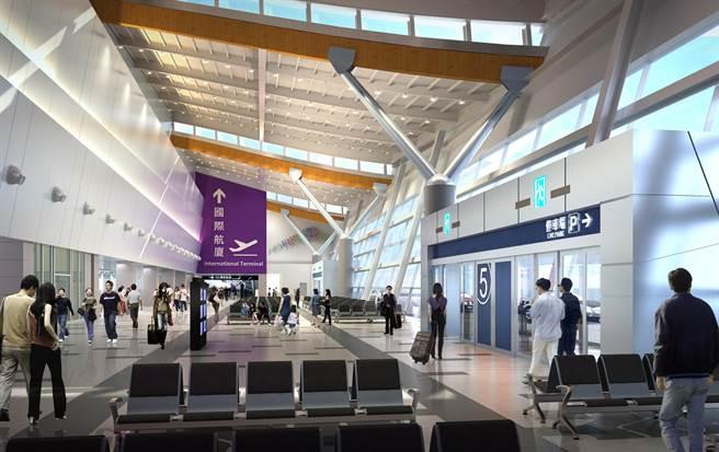 國內航廈整建後離到站大廳示意圖。(民航局提供/陳淑娥台中傳真)