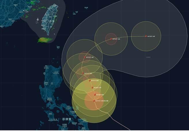 氣象粉專「台灣颱風論壇|天氣特急」在臉書上曝光舒力基颱風最新路徑,並指出周三、四式台風最揭進台灣的時刻,到時6地區有望降雨。(圖取自台灣颱風論壇|天氣特急臉書粉專)