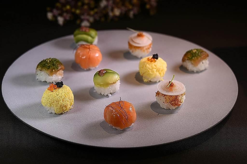 〈飞花落院〉春季套餐中〈手球寿司〉共有5种不同口味,形色味讨喜。(图/姚舜)