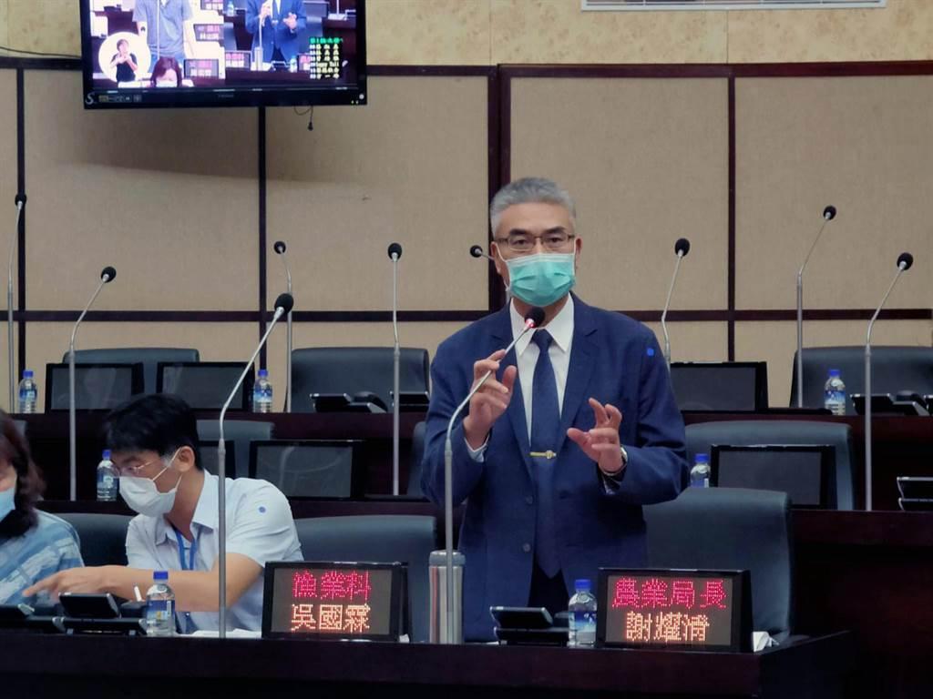 台南市政府農業局長謝耀清在市議會進行農漁產滯銷因應措施專案報告。(洪榮志攝)