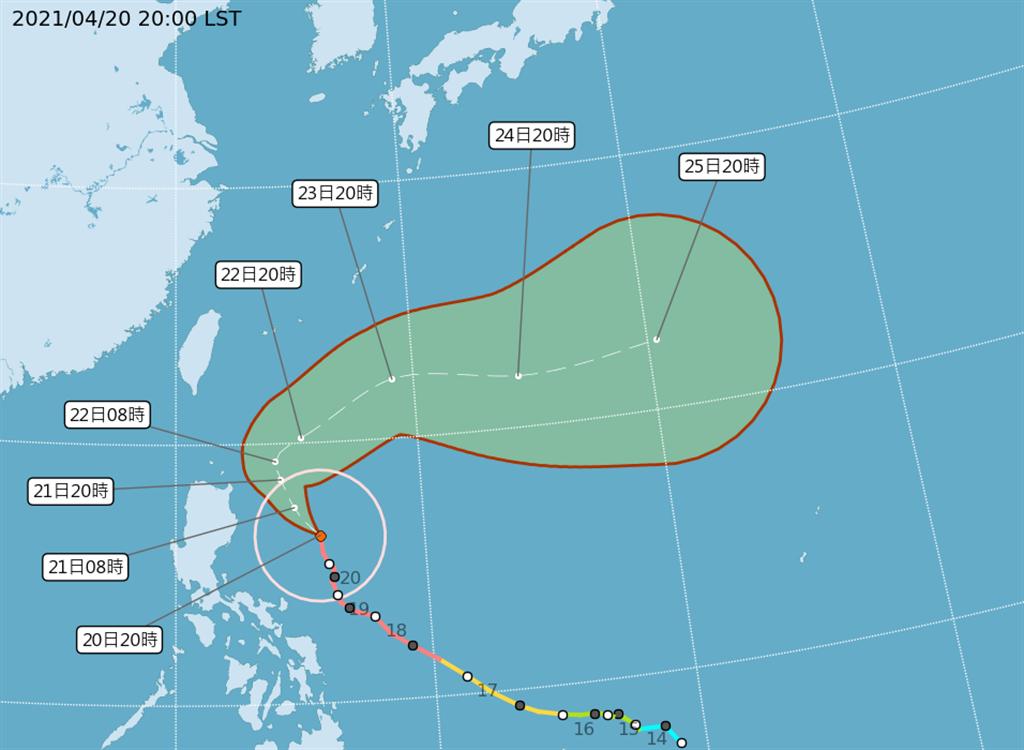 中央氣象局指出,今年第2號颱風舒力基21日到23日將往逐漸北上,期間相對距離台灣最近,未來一週要留意沿海的長浪。(氣象局提供)