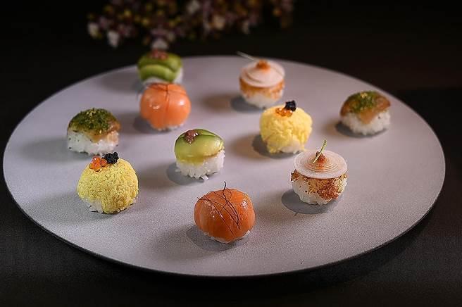 〈飛花落院〉春季套餐中〈手毬壽司〉共有5種不同口味,形色味討喜。(圖/姚舜)