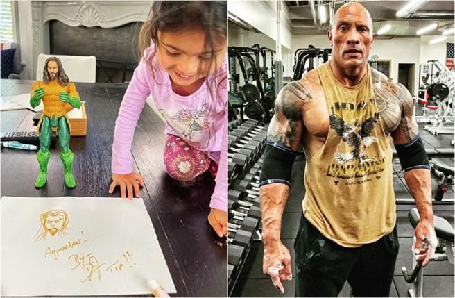 巨石強森的老爸地位受到挑戰,因為小女兒Tia現在眼裡只有水行俠。(取材自巨石強森IG)
