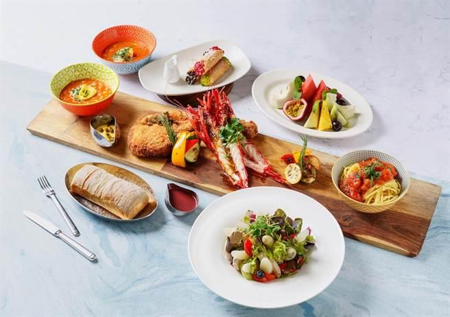 Ziga Zaga義大利餐廳的「巨無霸戰斧豬排火拼地中海紅蝦」5道式豪華雙人大餐。(台北君悅酒店提供)