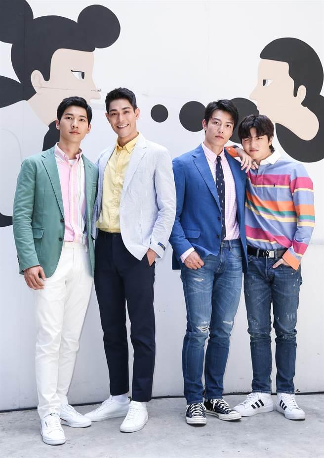 王碩瀚(右起)、賴東賢、李迪恩、廖偉博主演《約定I DO》。(陳俊吉攝)