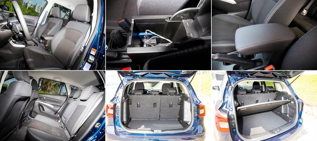 在內裝鋪陳上SX4仍採用Suzuki慣用的織布材質,說明了本車樸實無華的風格,而在空間規劃上也顯現Suzuki的特長,在僅4.3米的車長上提供充足的後座空間以及高達430L的行李廂容積。