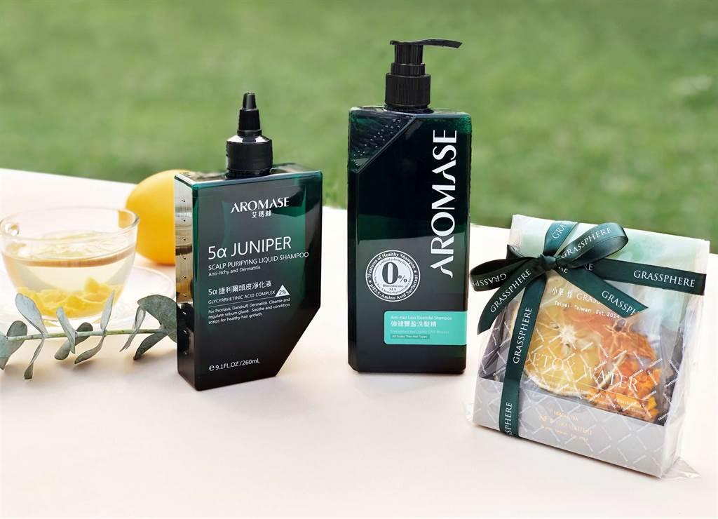 AROMASE艾瑪絲聯名小草作推出限定組合,一次擁有明星頭皮潔淨養護與茶品輕體驗。(圖/品牌提供)