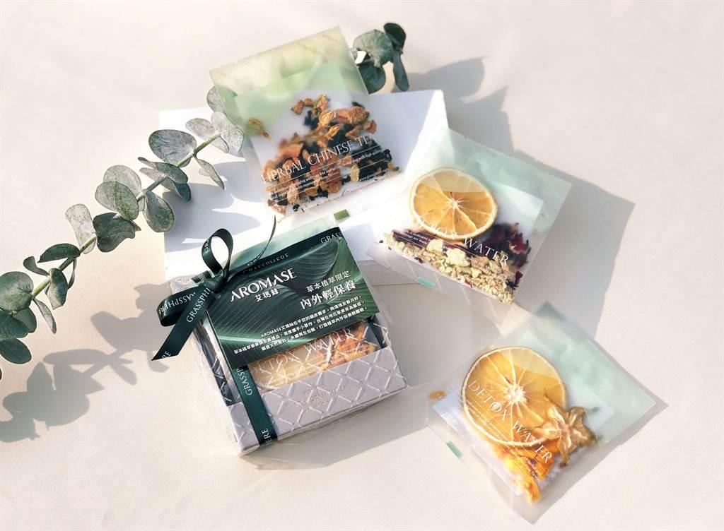 小草作打造聯名茶包,以在地花草果茶作物為基底,3入茶品外包裝採用永續再生材質。(圖/品牌提供)