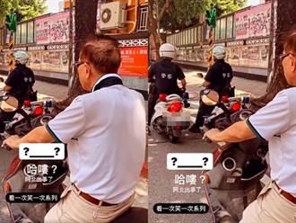 翁未戴安全帽見前方2警停紅燈裝淡定 目擊者笑:阿伯出事了