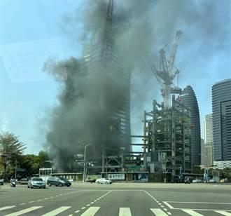 七期豪宅區台中商銀總部工地傳火警 黑煙猛竄起火原因曝光