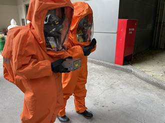 南科毒氣洩漏救災演練 消防員穿A級防護衣上場