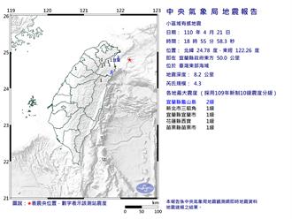 東部海域規模4.3地震 最大震度宜蘭2級