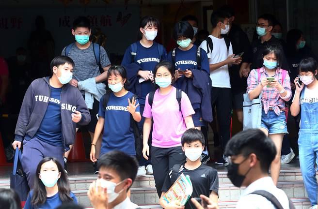 國中教育會考受到新冠肺炎疫情影響,考生必須戴上口罩應試。(中時資料照/陳信翰攝)