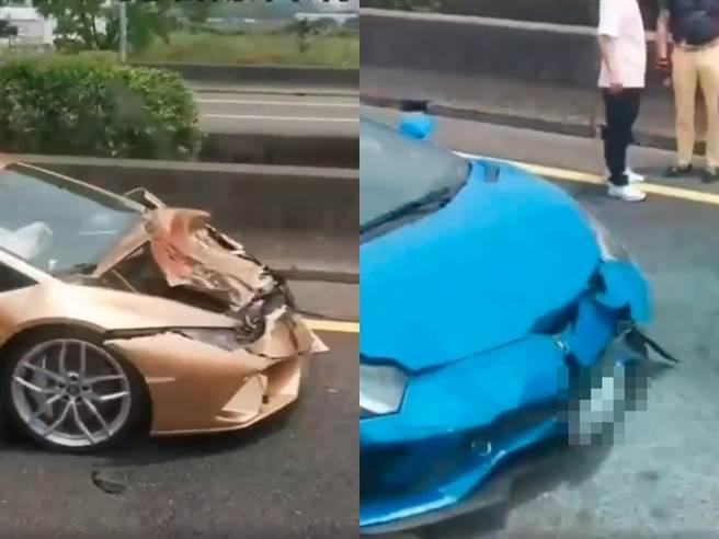 國道一號南下311K安定路段今(21日)上午11時,發生2藍寶堅尼超跑、1輛自小客車追撞事故。(圖/翻攝自臉書 記者爆料網)
