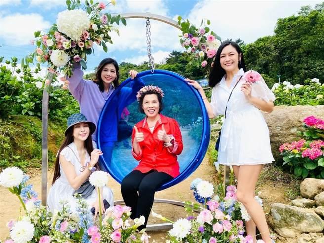 「2021萬里區繡球花季」今在萬里區高家繡球花園盛大展開。(新北市萬里區公所提供)