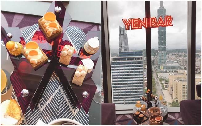 台北W飯店紫艷酒吧與珍煮丹聯名下午茶「潮茶艷」。(黃采薇攝)