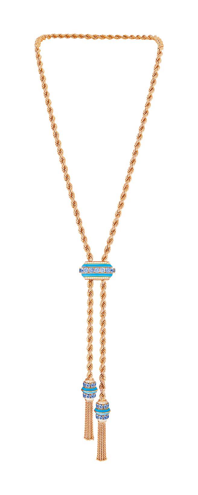梵克雅寶Liane項鍊,玫瑰金、坦桑石、綠松石、鑽石,380萬元。(Van Cleef & Arpels提供)