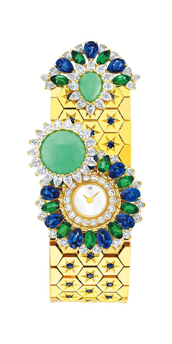 梵克雅寶Ludo Secret神祕珠寶表,藍寶石、祖母綠、綠玉髓、珍珠母貝、鑽石,795萬元。(Van Cleef & Arpels提供)