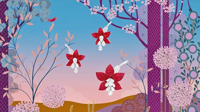 梵克雅寶邀請藝術家Charlotte Gastaut以珠寶為靈感彩繪色彩繽紛的奇幻森林。(Van Cleef & Arpels提供)