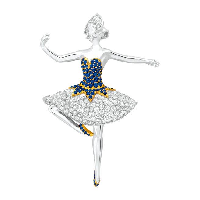 梵克雅寶Carlota ballerina芭蕾舞伶胸針,藍寶石、鑽石,515萬元。(Van Cleef & Arpels提供)