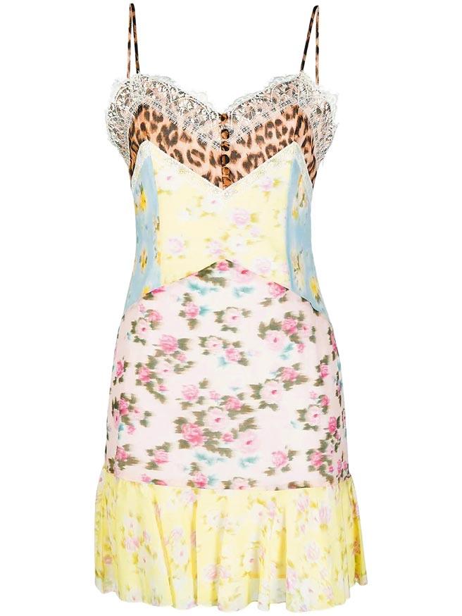 BLUMARINE花卉豹紋拼接洋裝,4萬7800元。(BLUMARINE提供)