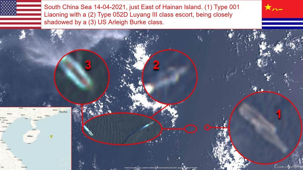 哨兵2號於4月14日拍到的遼寧艦編隊在海南島附近的衛星影像,1為遼寧號,2為052D(成都號或太原號),3是美軍柏克級驅逐艦,雙方靠得很近。(圖/OSINT)