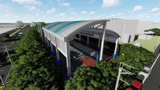 北河公園籃球場設計圖(八里區公所提供/戴上容新北傳真)
