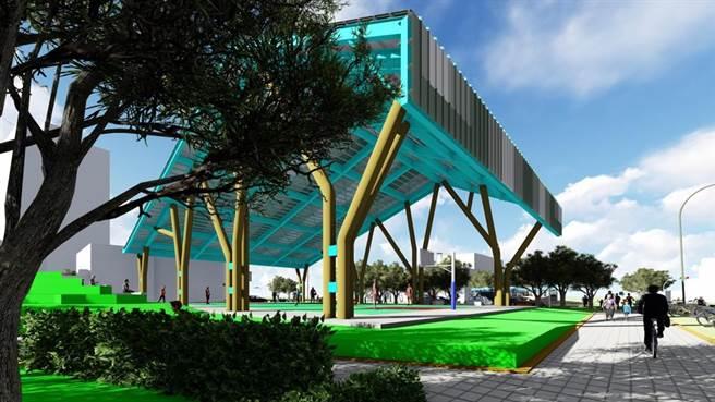 顶罟活动中心篮球场设计图(八里区公所提供/戴上容新北传真)