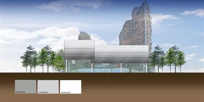 龍米活動中心籃球場設計圖(八里區公所提供/戴上容新北傳真)