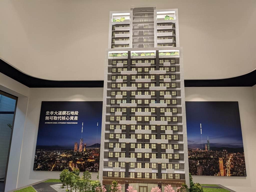 「安家藏玉」規劃地上21樓、地下4樓,每戶總價3000萬元起買22坪1+1房。(葉思含攝)