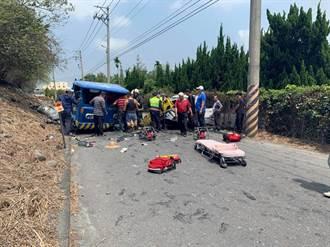 彰化休旅車撞鐵牛車頭全毀 駕駛雙雙重傷掛彩