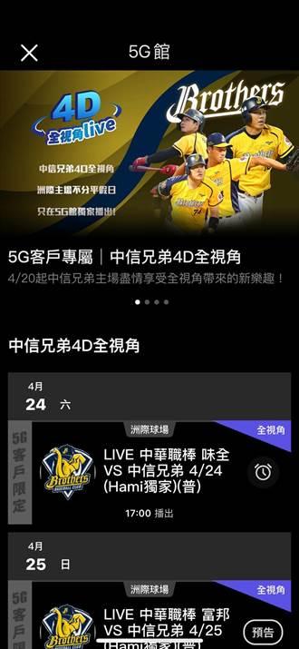 中華電信5G客戶免費獨享「4D全視角」轉播中職熱血賽事