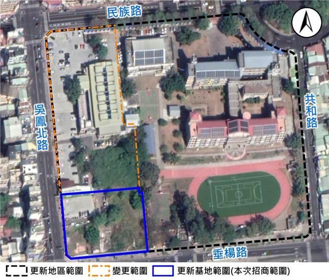 嘉義市垂楊路及吳鳳北路口的「肉地」(藍線框區域),更變商業區後要招商了。(嘉義市政府提供)