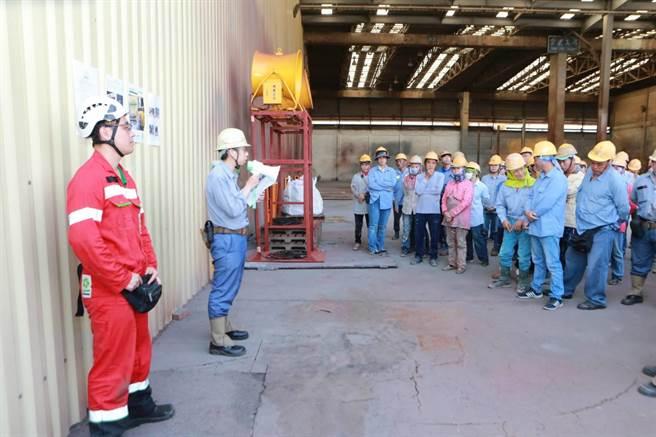 台船公司及台船環海公司配合DEME Offshore全球安全日課題宣導,展現重視工安的決心與文化。(台船提供)