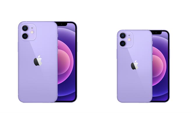 紫色iPhone 12以及iPhone 12 mini在4月23日開放預購,電商平台大方祭出優惠。(蝦皮購物提供/黃慧雯台北傳真)