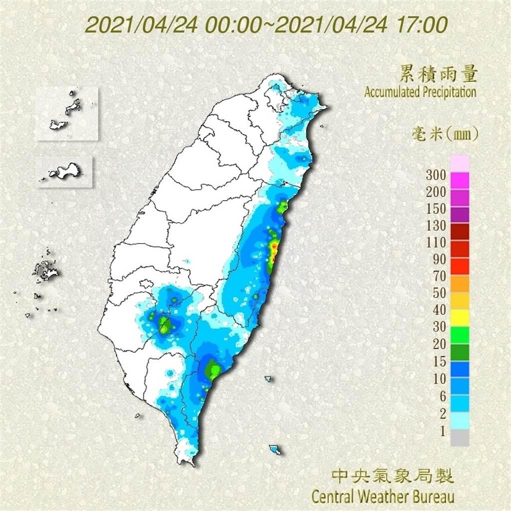 今(24日)午後對流雲系發展旺盛,高雄、花蓮地區有大雨出現。(氣象局提供)